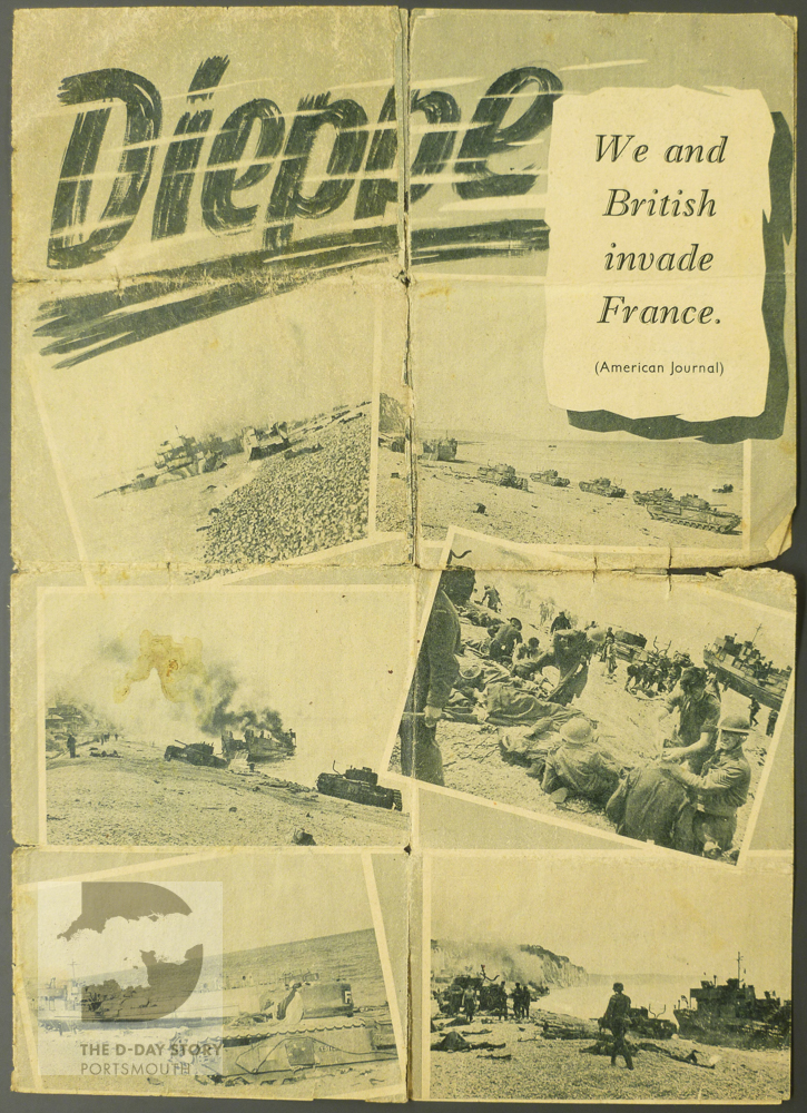 This German propaganda leaflet, in English, shows images of wounded troops and wrecked tanks at Dieppe.