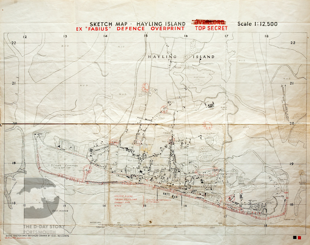 This map of Hayling Island was used during Exercise Fabius. It shows where units of the 50th British Division landed during the exercise.