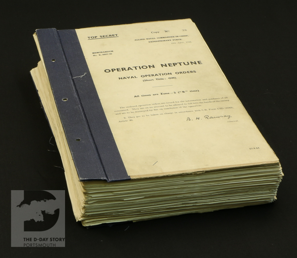 These are the orders for Operation Neptune, the naval part of Operation Overlord. They were issued in thick booklets by Admiral Sir Bertram Ramsay, the Allied Naval Commander.