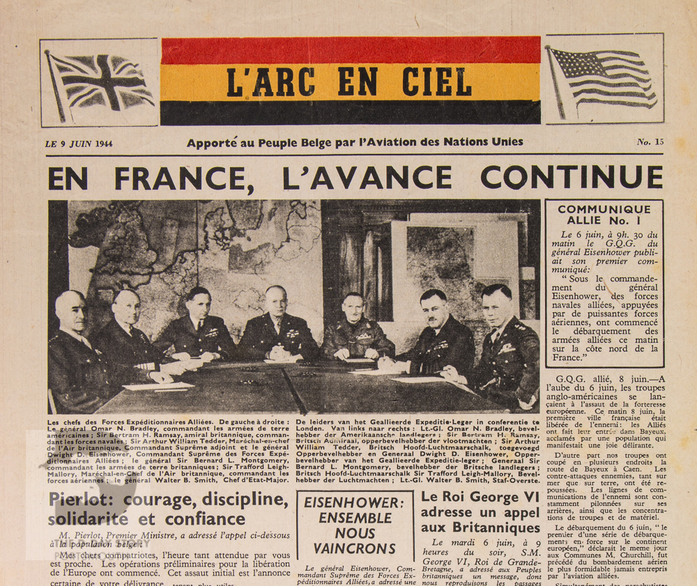 An aerial newspaper type propaganda leaflet in French and Flemish, with each language's text taking up half the leaflet. It was dropped on Antwerp on 9 June 1944. It is entitled 'L'arc en ciel' (French version) and 'De regenboog' (Flemish version). It focusses on D-Day.