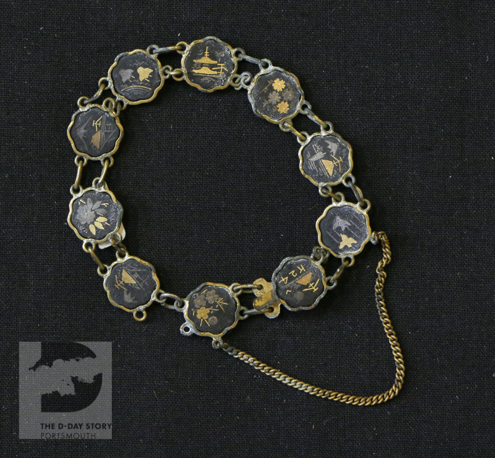 Frederick Barlow, from Portsmouth, was Regimental Sergeant Major of the 7th Battalion of the Rifle Brigade. He was killed during the Second Battle of El Alamein. He sent this bracelet home to his daughter Patricia.